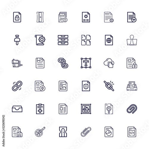 Editable 36 attach icons for web and mobile Canvas Print
