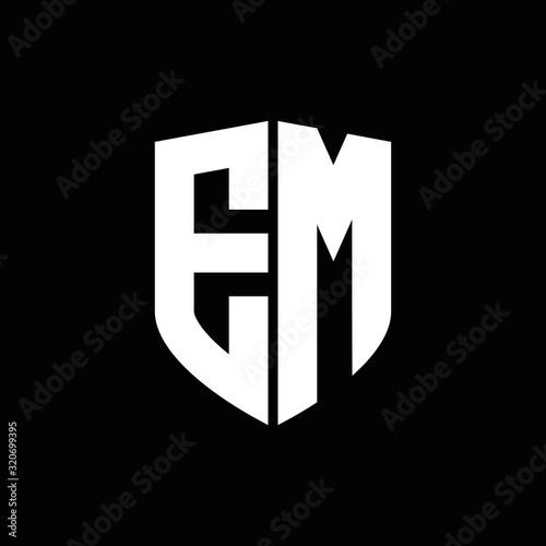 Photo EM logo monogram with shield shape design template
