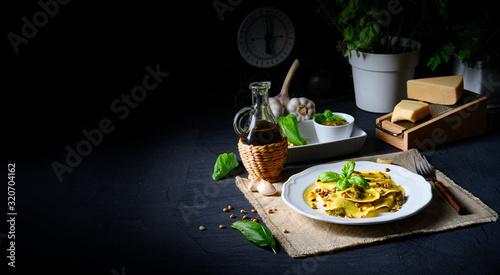 Vegetariano italiano! Tortelli with roasted pine nuts and pesto basilico Canvas Print