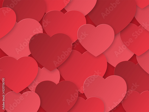 Background with red paper hearts. Template with place for text. Design for Valentine's Day. The 14th of February. Texture paper cut.