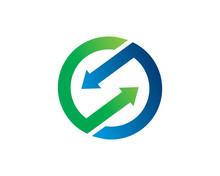 Connection Arrow Logo Template Design, Emblem, Symbol Or Icon