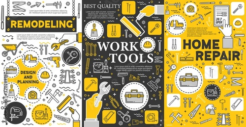 Obraz House remodeling and construction repair work tools, home renovation service posters. Vector handyman carpentry, masonry and woodwork hand tools, drill and saw, paint, construction hammer and ruler - fototapety do salonu