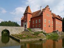 Renaissance Water Castle Called Cervena Lhota, South Bohemia, Czech Republic.