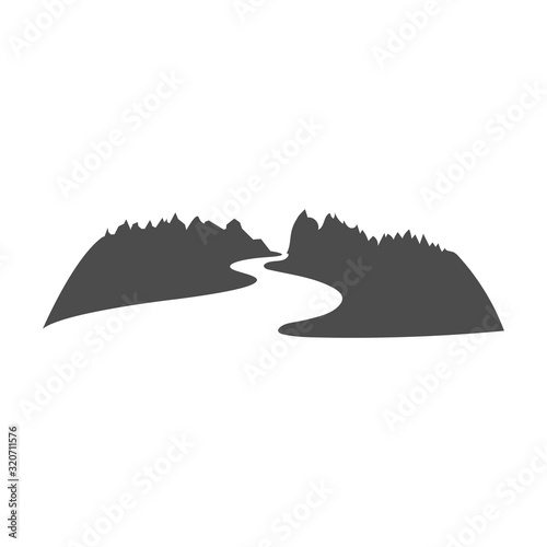 Photographie Mountain River Logo design in negative space vector illustration.