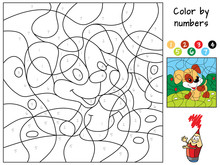 Funny Little Dog. Color By Numbers. Coloring Book. Educational Puzzle Game For Children. Cartoon Vector Illustration