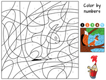 Squirrel Sitting On A Tree. Color By Numbers. Coloring Book. Educational Puzzle Game For Children. Cartoon Vector Illustration