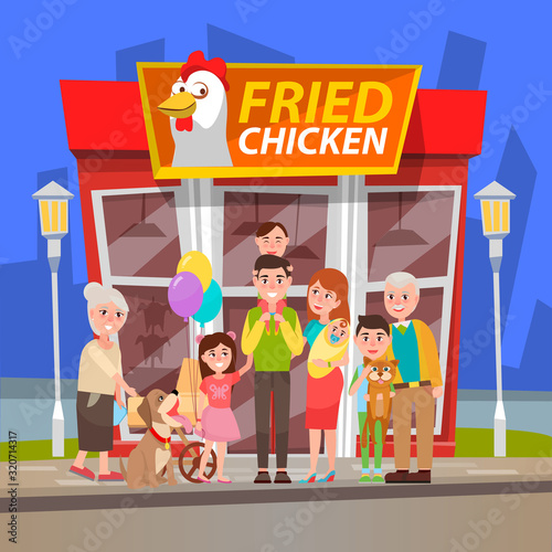 Smiling shoppers standing near chicken shop, man and woman buying fried products Wallpaper Mural