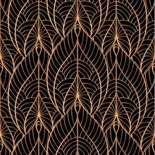 Peacock Feathers Floral Royal Pattern Seamless. Gold Black Luxury Background Vector. Elegant Design For Christmas Wrapping Paper, Beauty Spa, New Year Wallpaper, Birthday Gift, Wedding Party.