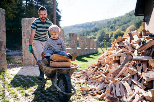 Canvas Print A father and toddler boy outdoors in summer, working with firewood