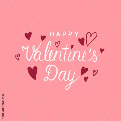 Szczęśliwych walentynek ilustracja kartkę z życzeniami transparent, białe strony Valentine napis, styl kaligrafii i czerwone serce kształt na różowym tle akwarela, znak miłości