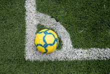 Ball On Marked Soccer Football Field Corner