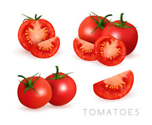 Tomatoes With Slices. Realistic Vector Illustration. Closeup Raw Vegetables Isolated On The White Background. Food Still Life Collection.