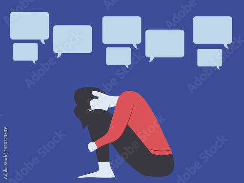 Conceptual illustration for bullying, gossiping, aspersion, defamation, slander, Canvas Print