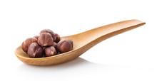 Hazelnuts In Wood Spoon On Whi...