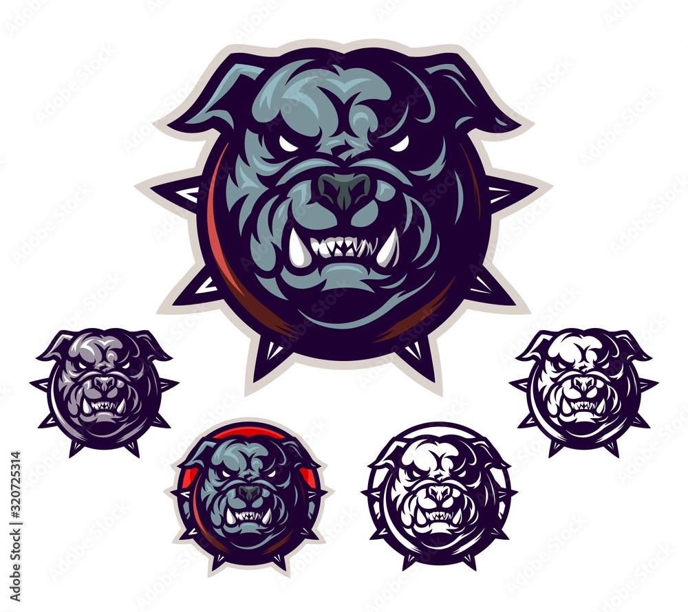 Fototapeta Cartoon bulldog head emblem