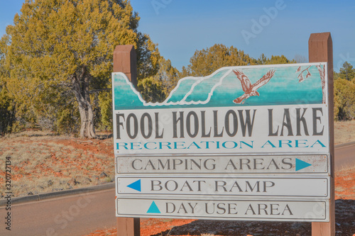 Fool Hollow Lake, Camping Area, Boat Ramp, Day Use Area Sign Wallpaper Mural