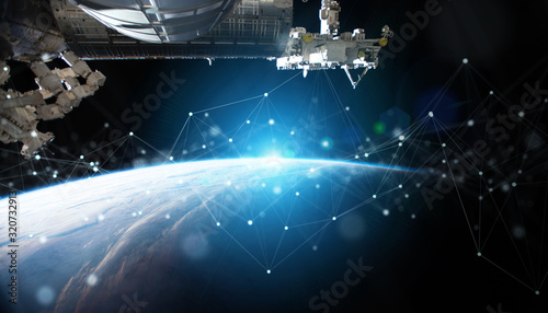 Fotografía Satellites sending datas exchanges and connections system over the globe 3D rend