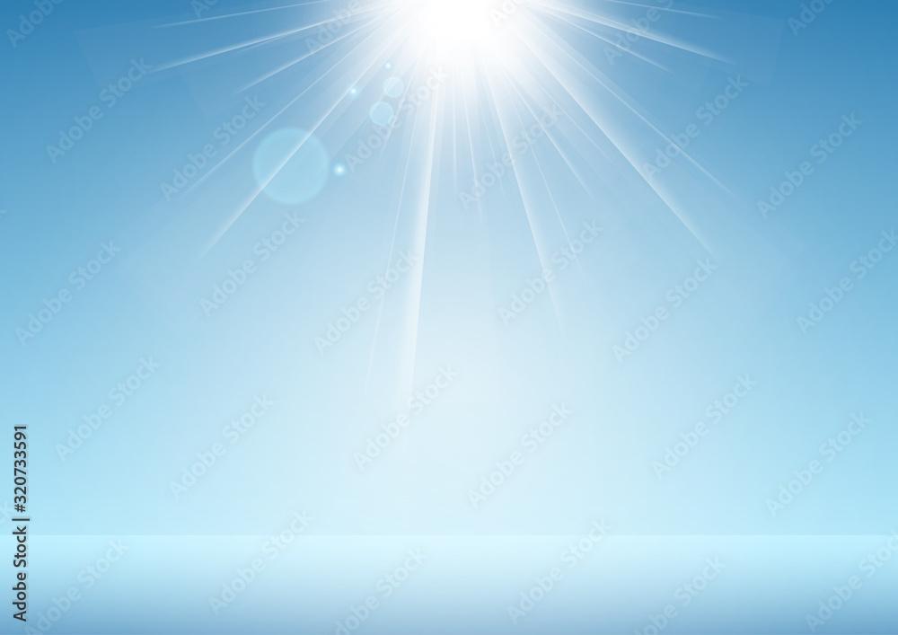 Fototapeta 光と青い背景