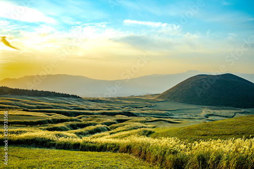 Komezuka of Mount Aso (Aso-san), the largest active volcano in Japan stands in A Canvas Print