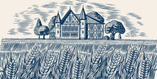 Brewery On The Background Of Wheat And Barley. Scenic View Of Rural Landscape, Village Field And Hill, Retro Wooden Building. Hand Drawn Monochrome Vintage Sketch For Beer Or Alcoholic Beverage Label
