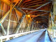 North America, Canada, Province Of New Brunswick, Hartland Covered Bridge, The Longest Covered Bridge In The World (1282 Feet - 391 Meters)