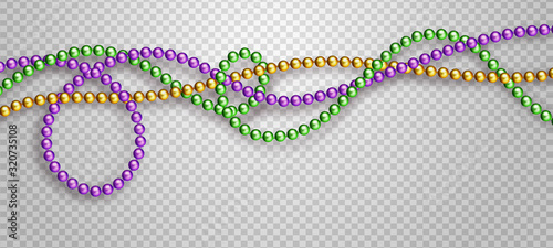 Photo Vector illustration of Mardi Gras beads in traditional colors