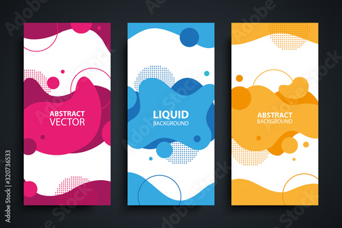 Fototapeta Flyers set with abstract modern liquid forms and shapes, circles and dotted patterns