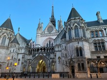 London's Royal Courts Of Justice At Dusk, England