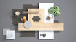 Leinwanddruck Bild - Minimal gray background, copy space, marble slab, wooden planks, cutting board, mosaic tiles, plant leaf, cappuccino, cookies, cinnamon. Kitchen interior design concept, mood board
