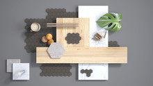 Minimal Gray Background, Copy Space, Marble Slab, Wooden Planks, Cutting Board, Mosaic Tiles, Plant Leaf, Cappuccino, Cookies, Cinnamon. Kitchen Interior Design Concept, Mood Board
