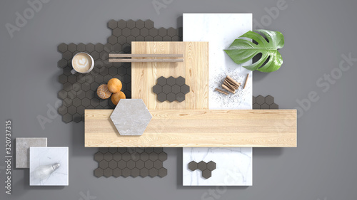 Stampa su Tela Minimal gray background, copy space, marble slab, wooden planks, cutting board, mosaic tiles, plant leaf, cappuccino, cookies, cinnamon
