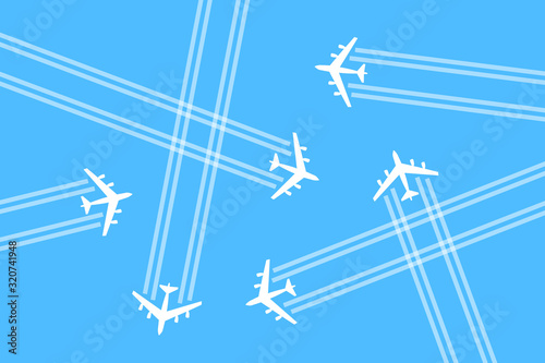 Airspace is busy and overcrowded by crowd of airplanes, aeroplanes and planes Wallpaper Mural