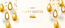 Vector Illustration Of Happy Easter Holiday With Golden Eggs And Serpentine. International Spring Celebration Design With Typography For Greeting Card, Party Invitation