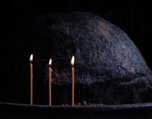 3 Lit Candles In Dark Church P...