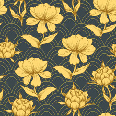 Fototapeta Orientalny Seamless pattern with golden peonies