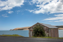 Hokianga River New Zealand. Martins Bay. Boathouse Beach