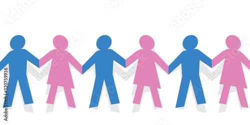 Photo Concept de la solidarité entre les hommes et les femmes, avec une chaine humaine mixte en papier découpé, montrant des personnages qui se tiennent la main pour affirmer leur unité