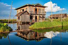 Wooden Floating Houses On Inle...