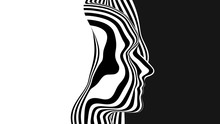 Vector 3D Abstract Human Head Made Of Black And White Stripes. Monochrome Ripple Surface Illustration. Head Profile Sliced. Minimalistic Design Layout For Business Presentations, Flyers, Posters.