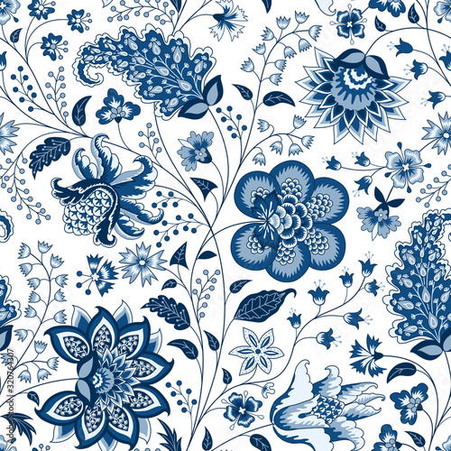 Tapeta niebieska  chintz-seamless-pattern-blue-floral-background-indian-fabric-with-blue-flowers