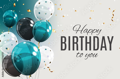 Canvas Print Color Glossy Happy Birthday Balloons Banner Background Vector Illustration