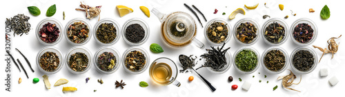 Photo Large assortment of tea on a white background