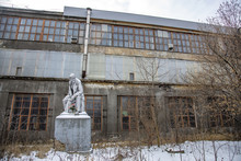 Monument To The Communist Leader Lenin On The Territory Of The MIG Aircraft Building Plant. Moscow, Russia