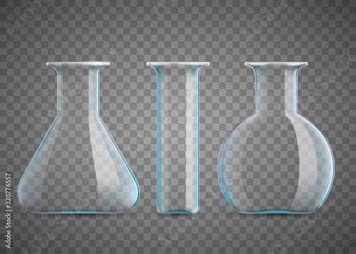Chemical laboratory beaker or test tubes. Empty glassware Canvas Print