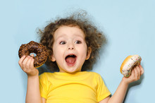 Joyful Child Screams With Happ...