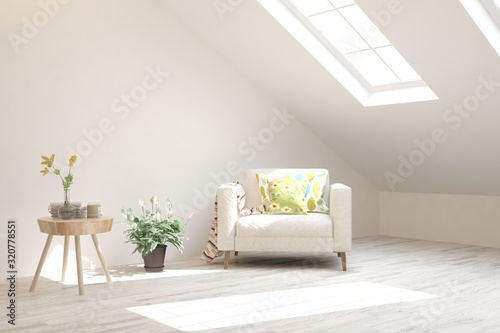 Stylish room in white color with armchair Wallpaper Mural