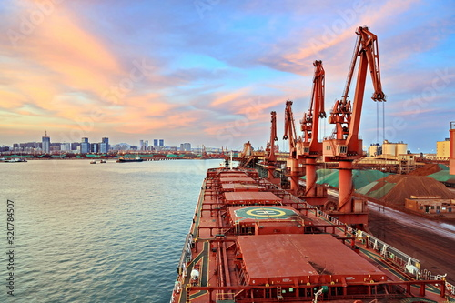 Canvas Print Type of cargo terminal and cranes, berths for transshipment of bulk cargo iron ore