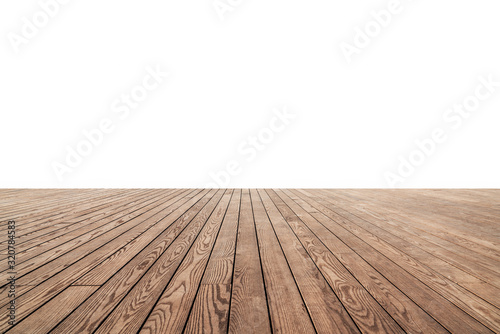 Obraz white painted or plaster wall and wooden floor decoration for background. - fototapety do salonu