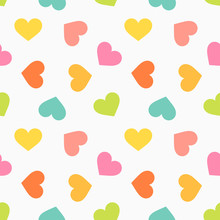 Cute Colorful Hearts Seamless ...