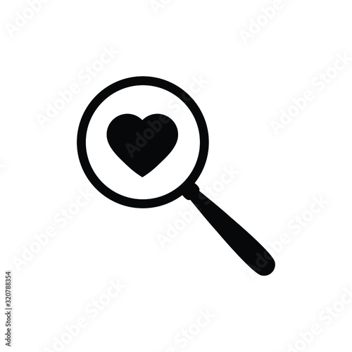 search icon with heart icon Wallpaper Mural